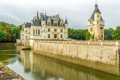 Chateau of Chenonceau with moat Royalty Free Stock Images