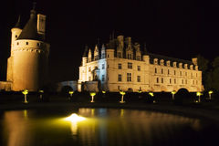 Chateau Chenonceau at night Stock Images