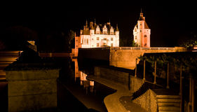 Chateau Chenonceau at night. Royalty Free Stock Images
