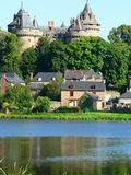 Chateau, Combourg  (France). View of the Combourg Castle from the pond Royalty Free Stock Photography