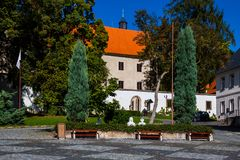 State castle Benešov nad Ploučnicí in the Czech Republic. The chateau complex is a unique example of Gothic and Renaissance architecture - the so-called Saxon Stock Image