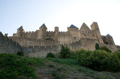 Chateau Comtal Carcassonne. The medieval walls and turrets of the Chateau Comtal in the city of Carcassonne Stock Images