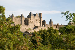Chateau Comtal Carcassonne. The medieval walls and turrets of the Chateau Comtal in the city of Carcassonne Royalty Free Stock Photo