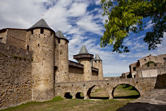 Chateau Comtal of Carcassonne fortress. Bridge to the Chateau Comtal of Carcassonne fortress, France Royalty Free Stock Photo
