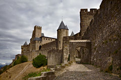 Chateau Comtal of Carcassonne fortress Royalty Free Stock Photos