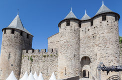 Chateau Comtal Carcassonne Medieval City France Stock Images