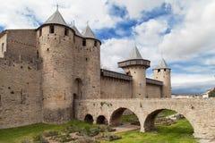 Chateau Comtal. Cite of Carcassonne, Languedoc-Roussillon, France stock images