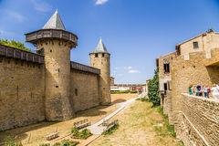 Chateau Comtal in the fortress of Carcassonne, France. UNESCO List. Chateau Comtal is located within the fortress of Carcassonne, which was founded by the Romans Royalty Free Stock Images