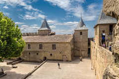 Chateau Comtal in the fortress of Carcassonne (France), 1130. UNESCO list. Fortress of Carcassonne - a medieval architectural complex, located in the French town Royalty Free Stock Images