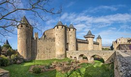 Chateau Comtal - 12th-century hilltop castle in Carcassonne Stock Photo