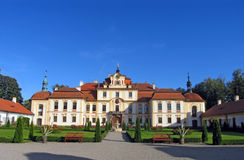 Chateau with the court. The chateau Jemniste in Czech Republic Stock Photo