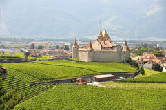 Chateau d'Aigle im Bezirk Waadt, die Schweiz Lizenzfreies Stockfoto