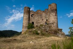 Chateau d'Alleuze. General view of Chateau d'Alleuze Royalty Free Stock Photos