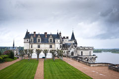 Chateau d'Amboise in the Loire Valley, France. Chateau d'Amboise in the Loire Valley on a gloomy day. France royalty free stock photography