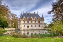 Chateau d`Azay-le-Rideau in Loire Valley, France. Azay le Rideau, France - April 17,2019: Chateau d`Azay-le-Rideau in Loire Valley, France. Castle of Azay-le royalty free stock image