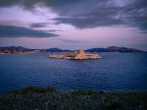 Chateau d`if prison where Alexander Dumas imprisoned count Monte Cristo in his novel, Marseille, France. View from iles de Frioul royalty free stock image