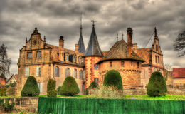 The Chateau d'Osthoffen, a medieval castle in France Stock Images