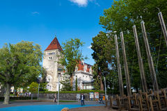 Chateau d`Ouchy, luxurious and Neo-Gothic hotel stock photos