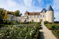 Chateau d Yquem, France. Chateaux de Yquem,  France, seen from the lovely rose-garden on a wonderful day Royalty Free Stock Photography