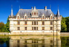 The chateau de Azay-le-Rideau, castle in France Stock Photos