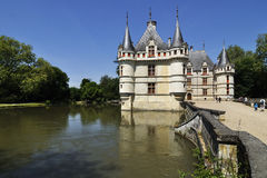 The chateau de Azay-le-Rideau, FRANCE-JUNE 2013: This castle is located in the Loire Valley, was built from 1515 to 1527 stock photos