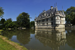 The chateau de Azay-le-Rideau, FRANCE-JUNE 2013: This castle is located in the Loire Valley, was built from 1515 to 1527 royalty free stock photography