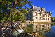 Chateau DE Azay-le-Rideau, Frankrijk Stock Afbeeldingen