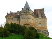 Chateau de Bannes, Beaumont du Perigord (France). View of Bannes castle on the hill Royalty Free Stock Photos