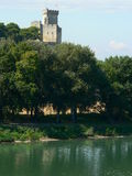 Chateau de Beaucaire, France. Rhone river and Beaucaire castle, built by the Counts of Toulouse in Gard, France Stock Images