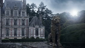 Chateau de Beaumesnil and an old statue stock footage