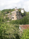 Chateau de Belcastel. Castle on a limestone bluff near Lacave , France royalty free stock images