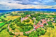 Chateau de Belvoir, a medieval castle in the Doubs department of France Royalty Free Stock Photography