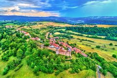 Chateau de Belvoir, a medieval castle in the Doubs department of France Royalty Free Stock Photos