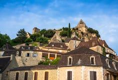 Chateau de Beynac slottdordogne perigord, Frankrike Arkivbilder