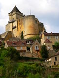 Chateau de Castelnaud-la-Chapele ( France ). Castelnaud medieval castle and village in the Dordogne, Aquitaine Stock Photography