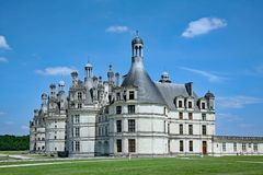 Chateau de Chambord. The Chateau de Chambord, dating from the 1500s, is a well preserved and extravagant country palace in the Loire Valley stock photography
