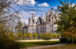 Chateau de Chambord from the garden stock photography