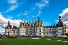 Chateau de Chambord, the largest castle in the Loire Valley, France stock images