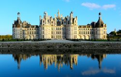 Chateau de Chambord is the largest chateau in the Loire Valley, France. Chambord is the largest chateau in the Loire Valley. It was built to serve as a hunting stock photo