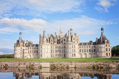 Chateau de Chambord, royal medieval french castle with reflectio Royalty Free Stock Images