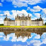 Chateau de Chambord, Unesco medieval french castle and reflectio Royalty Free Stock Images