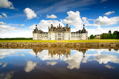 Chateau de Chambord, Unesco medieval french castle and reflectio Royalty Free Stock Image