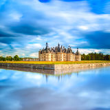 Chateau de Chambord, Unesco medieval french castle and reflection. Loire, France. Chateau de Chambord, royal medieval french castle and reflection. Loire Valley stock photo