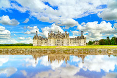 Chateau de Chambord, Unesco medieval french castle and reflection. Loire, France royalty free stock photo