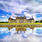 Chateau de Chambord, Unesco medieval french castle and reflection Royalty Free Stock Photography