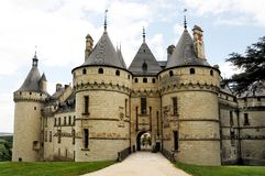 Chateau de Chaumont in Loire valley. Beautiful castle of Chaumont, romantic medieval castle in Loire Valley, France royalty free stock photo