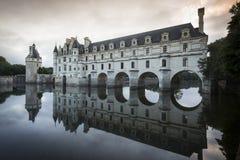 chateau de Chenonceau在黎明 免版税图库摄影