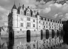 Chateau de Chenonceau门面,单色 库存照片