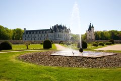 Chateau de Chenonceau backlighted Royalty Free Stock Images