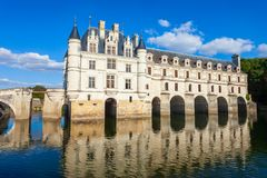 Chateau de Chenonceau castle, France. Chateau de Chenonceau is a french castle spanning the River Cher near Chenonceaux village, Loire valley in France stock photos